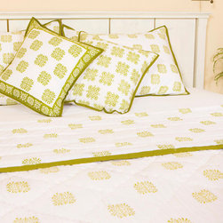 Country Quilts - Sage Midori Handmade Quilt from Attiser - Sage Midori block print adorns the façade of this handsome quilt, a serene green on white at its center.