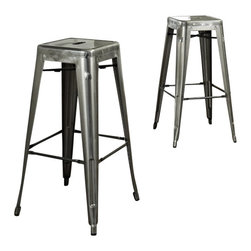 Crosley Furniture - Crosley Furniture Amelia Metal Cafe Barstool in Galvanized (set of 2) - Crosley Furniture - Bar Stools - CF500830GA - Originally made famous in the quaint bistros of France these midcentury replicas of original cafe seating will offer a dose of nostalgia combined with careful consideration for your wallet.  This inspired revival evokes a sense of a true vintage find. (Sold in Pairs)