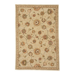 "Nourison - Nourison 2000 2360 9'9"" x 13'9"" Beige Area Rug 15745 - Intricately detailed flowers of Persian tradition are finely woven into the dense pile of this supremely appealing rug. Its refined palette of soft greens and muted reds gains added warmth from the antiqued parchment that forms the background for its elegant floral display. Beautifully textured and richly lustrous."