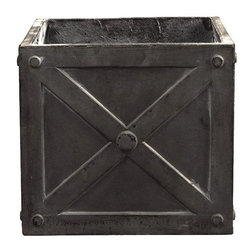Home Decorators Collection - Napoli Cube Planter - Our Napoli Cubes boast an embossed cross-plank and rivet design that evokes farm life or reclaimed cargo crates. These fibreclay planters are made by a patented process using fiberglass resin, crushed terra cotta and other natural materials to produce a durable, lightweight pot. These pots age naturally and attractively over time by absorbing salt, rain and plant fertilizers. Lightweight with the appearance of clay. Available in a variety of sizes and finishes. Ensure proper drainage and protect from hard freeze to avoid cracking.