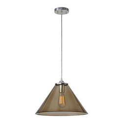 Ren-Wil - Ren-Wil LPC084 Satin Nickel and Smoky Glass Lucia Pendant by Jonathan Wilner - The Lucia pendant features a smoky glass shade attached to a satin nickel and wire base.