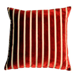 Pillow Decor - Pillow Decor - Monroe Velvet Stripes 22 x 22 Red Throw Pillow - This gorgeous pillow features luxuriously soft velvet stripes in deep blood red on a sturdy upholstery grade fabric backing in cream. Ideal for both traditional and contemporary settings, this generous 22 inch square pillow works wonderfully on larger sofas, sectionals, beds or daybeds.