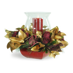 Winward Designs - Gold Leaf Magnolia with Glass Hurricane - Do something unique with your decor this holiday season. This gorgeous arrangement of gold-leafed magnolia, dark red roses and pine mixes beautifully around a hurricane vase and candle. A stunning seasonal centerpiece!