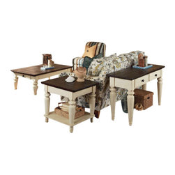 Hammary - Hammary Heartland 7-Piece Living Room Set with Smoky Brown Top - 7-Piece Living Room Set with Smoky Brown Top and Time-Worn Painted Base Belongs to Heartland Collection by Hammary
