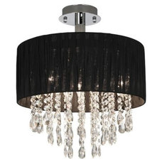 Possini Euro Black Fabric Drum and Crystal Ceiling Light