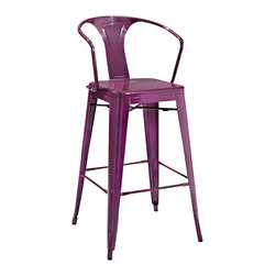 Crosley Furniture - Crosley Furniture Amelia Metal Cafe Barstool w/ Back in Purple - Set of 2 - Originally made famous in the quaint bistros of France, these midcentury replicas of original Cafe seating will offer a dose of nostalgia combined with careful consideration for your wallet.  This inspired revival evokes a sense of a true vintage find. (Sold in Pairs)