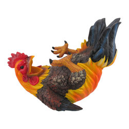 HAPPY FEET Rooster Wine Bottle Holder Hand Painted - This awesome drunken rooster bottle holder figurine is great for holding wine bottles, liquor bottles, or for holding olive oil as part of your kitchen decor. Made of cold cast resin, the holder stands 8 1/2 inches tall, is 10 1/2 inches long, and 6 1/2 inches deep. It makes a great gift for any rooster collector.