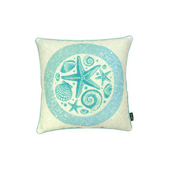 Lava - Aqua Sea 18 x 18 Pillow (Indoor/Outdoor) - 100% polyester cover and fill. Backed with Sunbrella outdoor fabric. Made in USA. Spot clean only. Safe for use indoors or out.