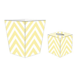 """Marye Kelley - Marye Kelley Butter Chevron Decoupage Wastebasket with Optional Tissue Box, 11"""" - This is a handmade decoupage wastebasket with optional tissue box.  All items are handmade in the USA.  There are three different styles available.  There is the 12"""" Fluted Tin Design, the 11"""" Square Design with a flat top or the 11"""" Square design with a scalloped top.  Coordinating tissue boxes may also be made. Please note all items are custom made and may not be returned."""