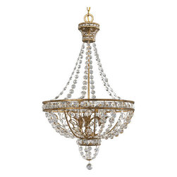 Thomasville Lighting - Thomasville Lighting P3634-63 Palais 3 Light 1 Tier Chandelier - Thomasville Lighting P3634-63 Three Light Palais Single Tier ChandelierFeaturing a gorgeous Neoclassical style, this three light pendant will add a timeless appeal to any foyer or dining room. The rich Imperial Gold finish showcases opulent cut glass and graduated octagon jeweled chains with decorative leaf highlights for an unforgettable elegance.The Palais collection reflects happiness through its opulent, octagonal jewels and luxurious accents. An Imperial Gold finish highlights drops of cut glass with silk dupioni shades.Thomasville Lighting P3634-63 Features: