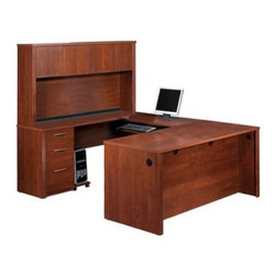 Bestar Embassy U-Shaped Workstation Kit - Tuscany Brown - Surround yourself with clean clear workspace with this Bestar Embassy U-Shaped Workstation Kit - Tuscany Brown. This super-organized workstation kit is full of helpful features including a typing shelf that glides out on smooth ball bearings. The keyboard shelf can be installed under the executive desk credenza return table or bridge. You choose. It's modular so it can be set up in various configurations. Other useful matching components can be added. Two utility drawers sit above a deep file drawer with letter/legal filing system and the bottom two lock with a single key. Four hutch cabinets keep you organized while rubber grommets organize wires. The smooth surface is a sturdy one-inch thick for strength with a hard commercial-grade melamine veneer that resists scratches and stains and cleans up with an easy wipe. Medium Tuscany Brown wood-grain finish. Meets or exceeds AINSI/BIFMA standards. Assembles easily. You'll be amazed at how much easier it is to get things done! About BestarEstablished in 1948 and based in Canada Bestar is a third-generation family business involved in the design manufacturing and distribution of a wide range of ready-to-assemble furniture and furniture components. Bestar's mission is to create produce and distribute mid- to high-end ready-to-assemble furniture for home offices small commercial offices and home entertainment. Bestar offers a combination of price quality and service that exceeds the expectations of customers and consumers.