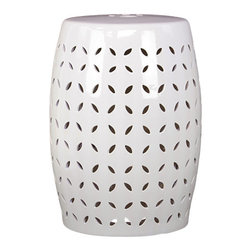 Graphic Ceramic Garden Stool White - *Graphic Ceramic Garden Stool White