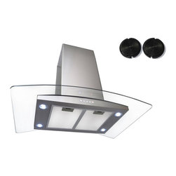 GOLDEN VANTAGE - GV 36-Inch Stainless Steel Island Range Hood W/Carbon Filter For Ductless Option - Our Contemporary Europe design range hoods capture the most pollutants, grease, fumes, cooking odors in a quiet way but maintain a strong CFM From 300-900 depends on the style or model you choose. GV products not only provide top notch quality of material, we also offer led lighting, quite chamber blower, adjustable telescopic chimney. All of our range hoods can convert to ventless/ductless options if outside exhaust not permitted.    Features:
