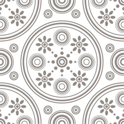 Odhams Press - Retro Daisies Taupe RETile Decal, Clear Background - RETile decals can be used to accent or transform your existing ceramic, stone or glass tiles. They are easy to apply and can be removed in the future without leaving a sticky residue.