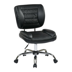 Office Star - Office Star ST Series Armless Task Chair in Black - Office Star - Office Chairs - ST52050CU6 - Enjoy the office star office chair and get to work in style with this sleek and comfortable office chair. The simplicity and the comfort of the chair can make any office setting look more complete. Armless task chair with faux leather and chrome finish base (Black)