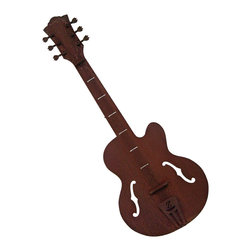 Guitar Wall Sculpture - This classic guitar sculpture is not made to play but enhance your home or garden. It is hand welded from heavy rusted steel and made in America. It is designed by California artist Susan Regert.