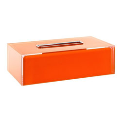 """Free Standing Thermoplastic Tissue Box Cover in Orange Finish - Contemporary style free standing rectangular tissue box cover made in Italy by Gedy. Made of thermoplastic resins with an orange finish. Dimensions: 9.84"""" (width), 2.95"""" (height), 5.31"""" (depth)"""