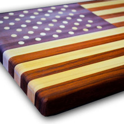 "Amish Made Flag Butcher Block- Patriotic American Flag Art - This Amish crafted butcher block is a perfect ""any occasion"" gift, but we think dear ol' Dad will appreciate it the most. Made from Padauk (red), Heartwood (blue), and Maple (white)."