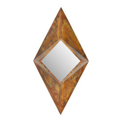 Safavieh - Diamond Mirror MIR3008A - The eye-catching patina of the contemporary Diamond mirror, which can be hung vertically or horizontally, will be your wall's best friend. The geometry of Diamond, with subtle angles, like the facets on a gem, add luster to any room of the house.