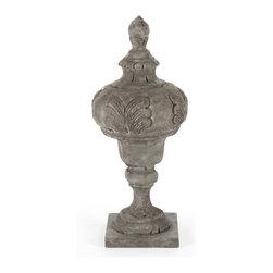Zentique - Vivianna Urn - The Vivianna Urn features a decorative design and natural cracks with a square base.