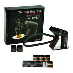 PolyScience - PolyScience Smoking Gun DeLuxe Kit, Culinary Sensations with Smoke - Quickly and easly make extraordinary new drinks, sandwi, sauces, sautes, and moreOne-piece, removable anodized aluminum smoking chamberEnrich your food with irresistible open-fire flavors to any food that usually wouldn't be smoked. Heavy-duty metal blower fan-will not melt when heated. Efficient, low noise motorIncludes: Acrylic Stand, 18 in nozzle extender hose, Four AA batteries, Two 1/2 ounce sample jars each of Applewood, Hickory smoking chips, THE CLASSIC SMOKEHOUSE: 4-oz jar of each. Applewood, cherrywood, hickory and mesquite all-natural wood chips as well as Instruction Guide. 1-Year Warranty