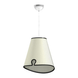 Iris Design Studio Ltd - Buenos Aires Ceiling Lamp - This plissé Pendant lamp is an Audrey Hepburn style modern design. A soft and rich a-symmetrical lamp shade is often used as an atmosphere light as well as a functional lamp to light up an entire room.