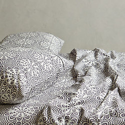 Geo Flora Sheet Set, Dark Gray - Fun patterned sheets are probably my favorite part of making the bed. I always go with a solid duvet and a pattern on the sheets to give a little pop of interest to an otherwise classic look. These geo floral sheets from Anthropologie are some of my favorites.