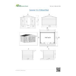 Summer 13 x 10 Wood Shed / Pool House - ECO Garden Sheds. All natural wood 13 x 10 traditional pool house/ wood garden shed -- Summer. Blueprints.