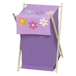 "Sweet Jojo Designs - Daisies Hamper - The Daisies Hamper by Sweet Jojo Designs will add a designers touch to any childs room. This childrens laundry clothes hamper has a wooden frame, mesh liner, and a fabric cover.The removable hamper body is secured to the wooden frame with corner loops and Velcro. The wooden stand folds flat for space-saving storage and the removable mesh liner is great for toting laundry.Dimensions: 15.5"" Length x 16"" Width x 26.5"" Height.If you like the Daisies Hamper Hamper, dont forget to check out the other items in the collection."