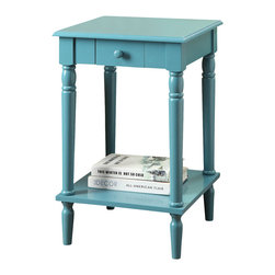 Convenience Concepts - Convenience Concepts Accent Table X-EB5813506 - The elegance of French Country is now available in rich accent colors. Featuring a glossy blue finish, a drawer, and bottom shelf for additional storage. The French Country End Table in Blue will brighten up your mood and your room.