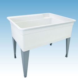 Mustee - Mustee 28F Single Basin Floor Mount Utility Sink - 28F - Shop for Commercial Laundry and Utility from Hayneedle.com! The Mustee 28F Single Basin Floor Mount Utility Sink is an all-purpose unit that's great for bathing pets soaking laundry and icing drinks. Whatever its purpose you'll find this tub's 36-gallon capacity and 13-inch depth a life-saver time and time again. The unit is made from a single piece of molded Durastone a proprietary blend of fiberglass stone and resin that's naturally resistant to mold and mildew. Heavy-gauge steel legs support the tub which features a back shelf and retainer curb to keeps spills and overflows to a minimum. Unit is fitted for 4- or 8-inch center faucet (not included).About Trumbull IndustriesFounded in 1922 as a single branch plumbing supply house Trumball Industries has evolved over the years in to a privately held corporation and full-line distributor with specialized divisions. With 6 branch locations Trumball Industries has several divisions: an Industrial Division that provides products and services to industrial manufacturers a Home Center Division that offers expertise in all major kitchen and bath products a Municipal Division that offers a full line of water and sewer products and a Master Distribution Center with 500 000 square feet housing over 80 000 products. Aside from providing quality services to their customers the people at Trumbull Industries are happy provide a tour of any of their facilities as well as assist you with any design layout or purchasing decisions.