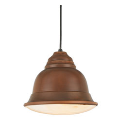 "http://www.barnlightoriginals.com/ceiling-lights/copper-and-brass-lights/the-bel - 12"" Bella shown in 77-Rosewood Finish with Cloud Bottom Glass Panel Accessory & Black Cord"