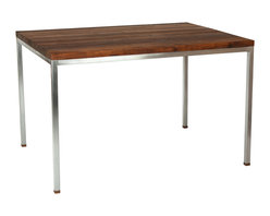 """Walnut Wood Works - Black Walnut Butcher Block Dining Table with Brushed Steel Base - This table features a 1.25"""" thick solid Black Walnut butcher block style top finished in 100% Pure FDA certified Food safe Tung oil."""