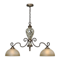 Uttermost - Malawi 2-Light Kitchen Island Light - Lightly burnished cheetah print over ceramic accented with gracefully curved arms finished in heavily antiqued silver and lightly stained frosted glass shades.