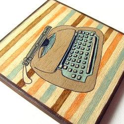 Vintage Electronics Typewritter Original painting on Art blocks for Wall Decor - Lunartics Art & Vintage Studio