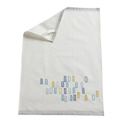 Coyuchi - Block Embroidered Kitchen Towel Multi - Woven with yarn-dyed stripes and embroidered with a confetti-toss of rectangles, our towels brighten up the kitchen when they're not drying dishes. Made from soft, thirsty organic cotton that's kind to dishes and glassware, and kind to the planet as well. Set of two.