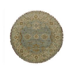 1800GetARug.com - 6'x6' Sky Blue Round Oushak Oriental Rug Handmade 100 Percent Wool Sh19931 - 6'x6' Sky Blue Round Oushak Oriental Rug Handmade 100 Percent Wool Sh19931