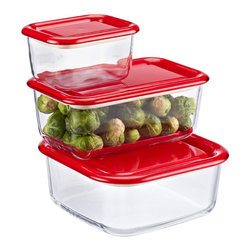 Candy Apple Glass Containers - Glass containers are great, especially for freezing meals and heating leftovers in the microwave.