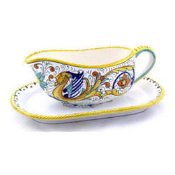 Artistica - Hand Made in Italy - Raffaellesco: Sauce Boat with Tray - Raffaellesco Collection: Among the most popular and enduring Italian majolica patterns, the classic Raffaellesco traces its origin to 16th century, and the graceful arabesques of Raphael's famous frescoes.