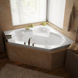 Venzi - Venzi Grand Tour Ambra 60 x 60 Corner Air & Whirlpool Jetted Bathtub - The Ambra collection features a classic, corner tub design with an oval opening that will fit perfectly into any bathroom design setting. Molded seat provides comfort and safety.