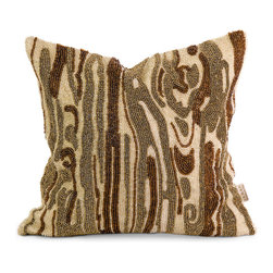 Imax - IK Lavitra Hand Beaded Green Brown Pillow with Down Fill Cotton Decor - IK Lavitra Hand Beaded green brown pillow with down fill cotton decor Imax 42176