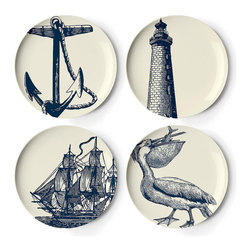 Frontgate - Set of Four Scrimshaw Salad Plates - Melamine is shatterproof and ideal for outdoor entertaining. Dishwasher safe. Do not use in the microwave, or place on direct heat. Not recommended for use with sharp knives. Our Scrimshaw Melamine Dinnerware by thomaspaul takes casual tableware in a new direction. A fun mix of nautical designs, this durable collection is perfect for an alfresco party, and stylish enough to use indoors as well.. . . .