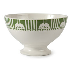 "Sir|Madam - Vintage Deco Au Lait Bowls in Green (Set of 8) - Bold and cheerful, we think these scream ""good morning!"" The motifs are based on authentic examples from the 1930s, and they really shine when all mixed together. To that end, these bowls come in an assorted set of 8 complementary designs. Vintage deco au lait bowls are microwave and dishwasher safe. Each bowl measures 5.5"".   About the Artist: With a strong focus on domesticity and entertaining, Sir