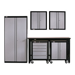 Stack-on Garage Storage - Cadet 6 Pc Storage System Set in Gloss Black - Includes 2 two-door wall cabinet, two door project center, five drawer project center, two door storage locker and workbench. Fully lockable. Resists solvents and moisture. Made from steel. Silver and gray color doors. Made in USA. Minimal assembly required. Two door wall cabinets: 26.5 in. W x 12.25 in. D x 29 in. H. Two door project center: 26.5 in. W x 16 in. D x 34.5 in. H. Five drawer project center: 26.5 in. W x 16 in. D x 34.5 in. H. Two door storage locker: 36 in. W x 18 in. D x 72 in. H. Workbench: 66 in. W x 24 in. D x 39 in. HGladiator cadet garage organization system ready to Go in an afternoon. The gladiator cadet system allows you to pick and choose the items that meet your needs. As your needs change and grow it is easy to add components to increase organization capabilities. This project center can glide down a narrow passageway between parked cars or be guided under the cadet workbench for storage. All steel construction can stand up to daily use.