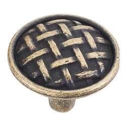 Jeffrey Alexander 3174-ABM-D Cabinet Knob - Large - Ashton Series - Distressed A - This distressed antique brass finish round cabinet knob with braided design is a part of the Ashton Series from Jeffrey Alexander. A perfect blend of craftmanship in traditional and contemporary design to complement any decor.