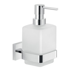 Gedy - Wall Frosted Glass Soap Dispenser With Chrome Mounting - Modern wall mounted liquid soap dispenser with hand pump.