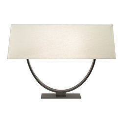 Sonneman Lighting - Sonneman Lighting Brava Transitional Table Lamp - Low X-15.1407 - The large sweeping arch of the frame comes paired with a rectangular base and coordinating shade on this Sonneman Lighting table lamp. From the Brava Collection, this transitional table lamp features off-white linen and a stunning Black Brass finish that adds a modern, masculine finishing touch.