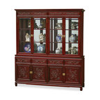 China Furniture and Arts - 72in Rosewood Imperial Dragon Design China Cabinet - A grand curio cabinet to display your treasured collectibles. Hand carved dragons decorated the entire cabinet. Interior has mirrored back, halogen lights and adjustable wood framed glass shelves. Four drawers and cabinets with removable shelf in the lower portion providing ample storage space. Splendid with imperial grandeur. Hand applied dark cherry finish. Matching brassware.