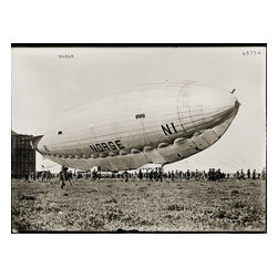 Norge Leaving Hanger Print - Norge Leaving Hanger (blimp). An Italian airship that was the first to fly over the polar icecap between Europe and North America. Find much more on the Norge here. Photographed on a glass negative and published by the Bain News Service.