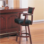 """Wildon Home � - Tiernan Bar Stool with Swivel Leather Cushion Seat and Back in Cherry - Features: -Tiernan Bar Stool with Swivel Leather Cushion Seat and Back. -Warm medium Cherry finish. -Traditional style. Dimensions: -Seat height: 29"""". -Overall: 45.5"""" H x 22"""" W"""" x 23"""" D, 29.986 lbs."""